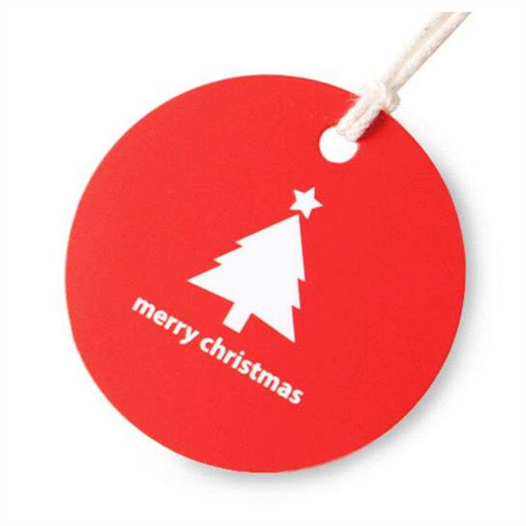 Recycled Merry Christmas Gift Paper Hang Tag Custom Price Tags With String