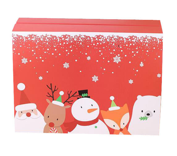 Recyclable Custom Gift Christmas Packaging Boxes With Handles PP Ropes